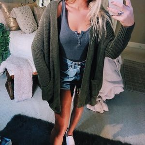 Sweaters - olive oversized gypsy cardigan